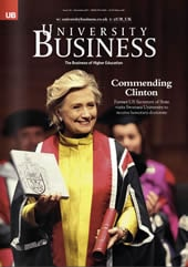 Commending Clinton, cover of University Business, issue 116