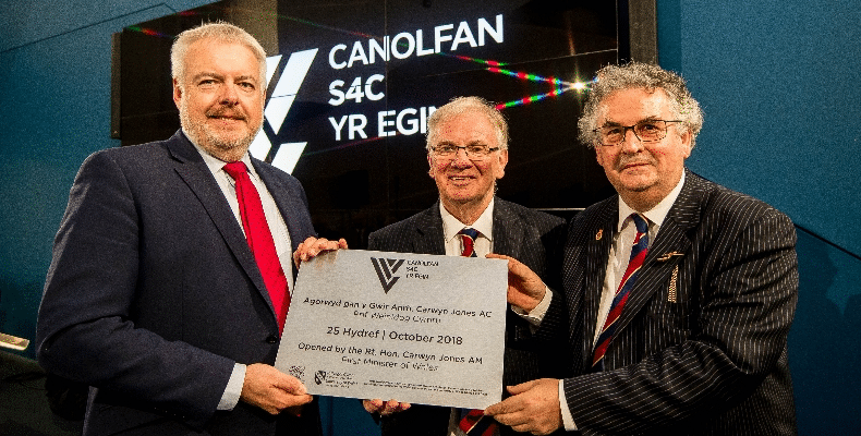 L-R: The Rt Hon Caryn Jones AM, First Minister of Wales; The Venerable Randolph Thomas, CadChair of Council, University of Wales Trinity Saint David; Professor Medwin Hughes, Vice Chancellor, University of Wales Trinity Saint David