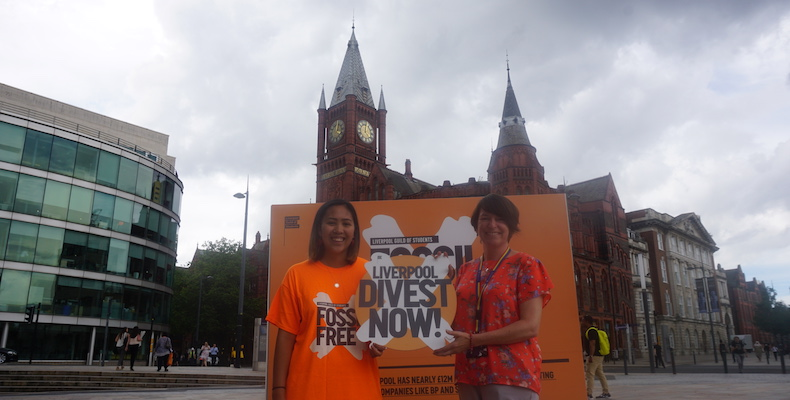Deputy president of the Guild of Students, Hannah Nguyen, and director of finance, Nicola Davies, agree the new divestment pledge