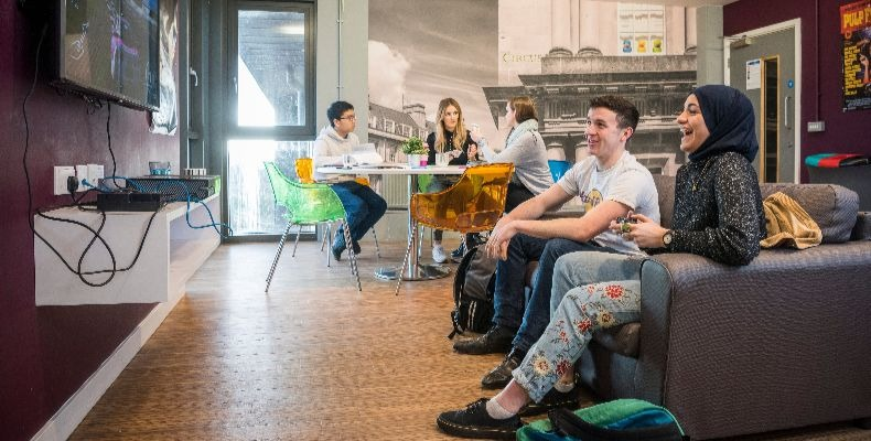 A social space at The Quads, University of Bath