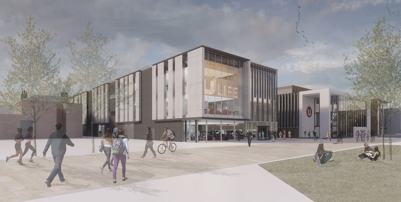 TEESSIDE UNIVERSITY  Part of Teesside University's Campus Masterplan, the Student Life building is a student-centred, student-led space at the heart of its Middlesbrough site. This technologically enabled environment supports a variety of learning styles, activities and attendance patterns with flexible spaces that enable social and collaborative learning