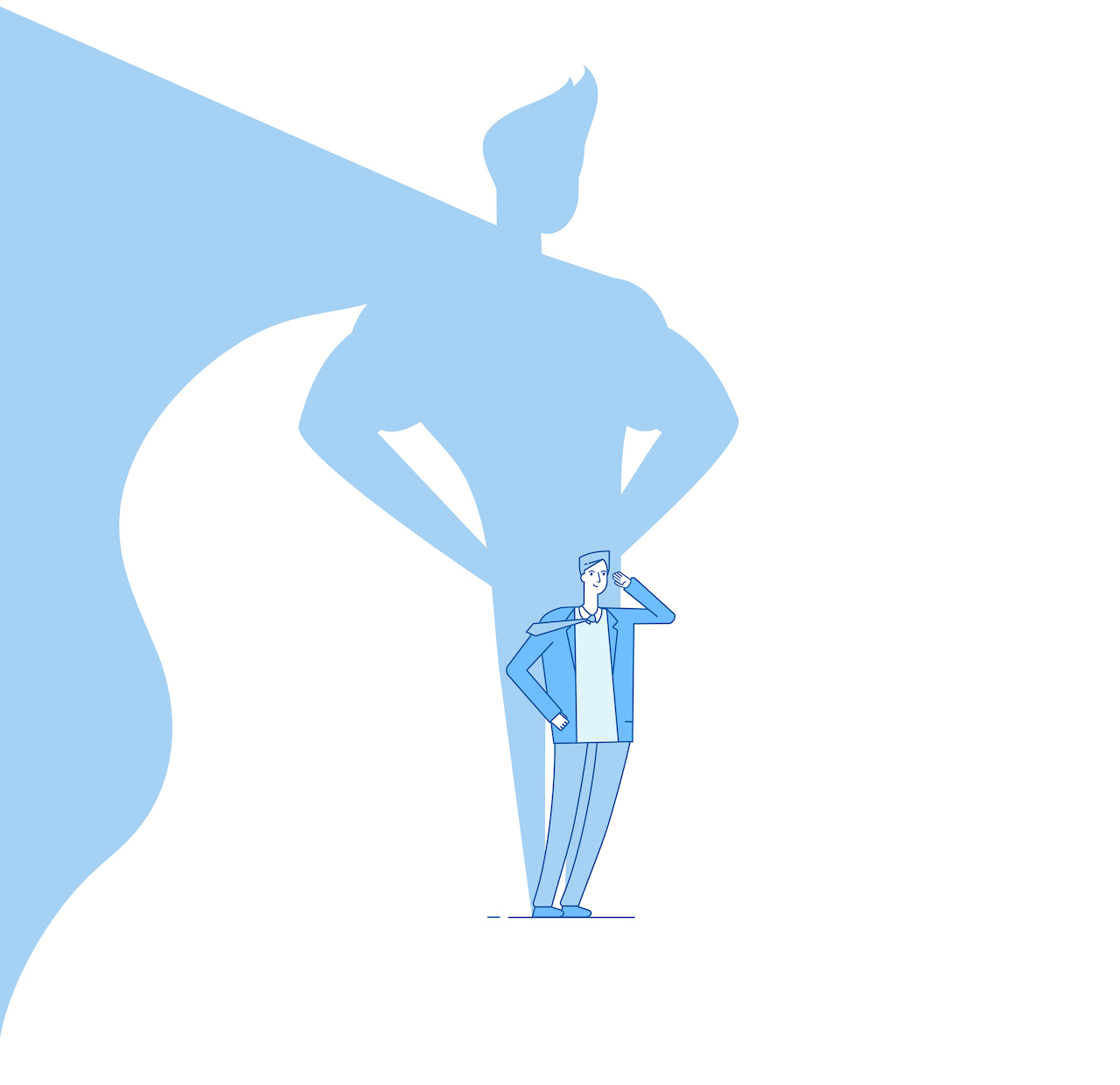 Businessman with superhero shadow. Strong man leader business power, ambition and success vector motivation concept