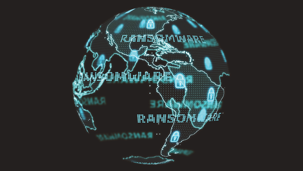 Digital global world map and technology research develpoment analysis to ransomware attack digital text