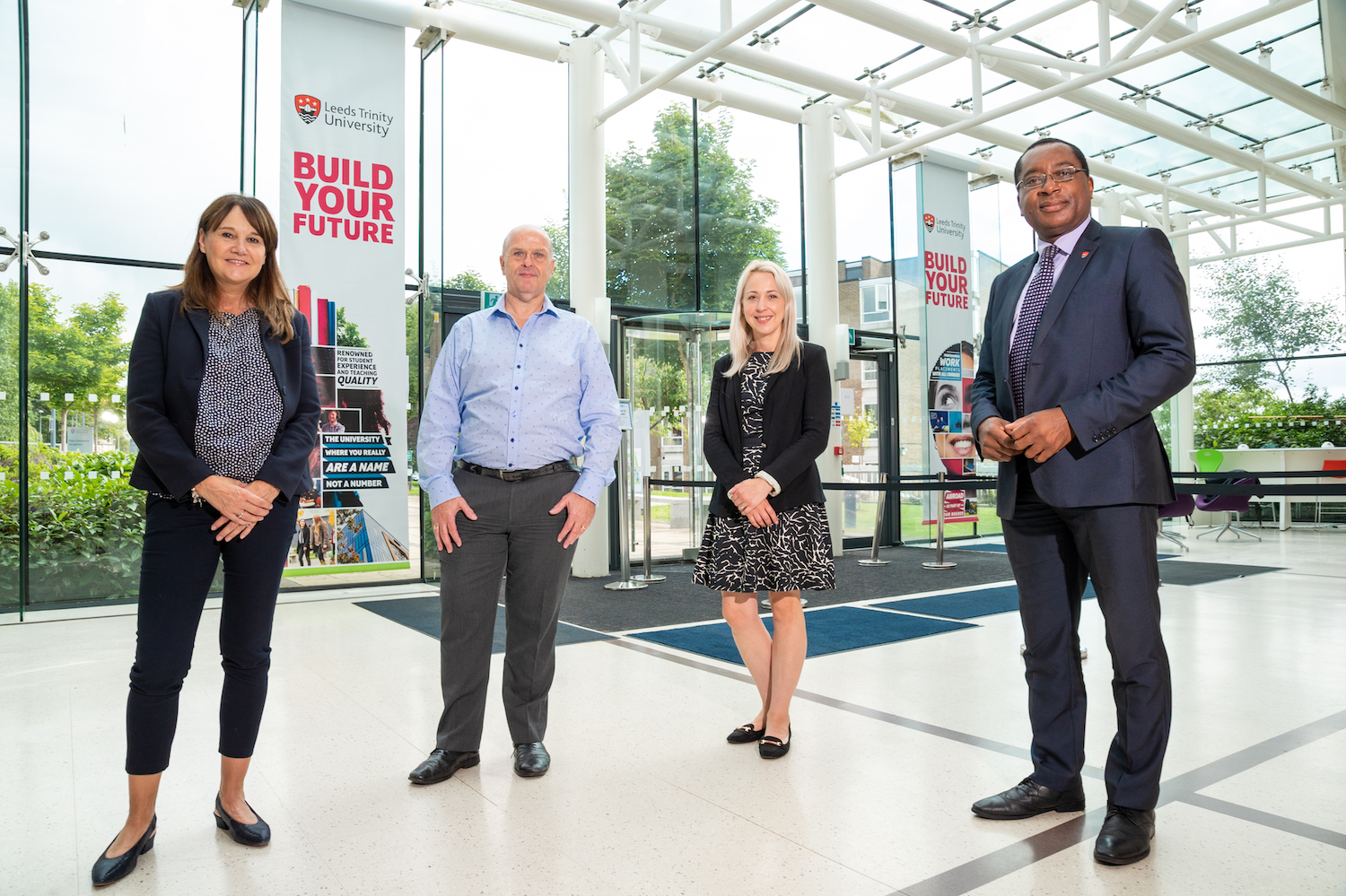 From left to right: Sue Carr (Head of Learning and Workforce Development at Leeds Trinity University), Simon Errington (HR and Resourcing at York St. John), Olivia Briddon (Equality, Diversity & Inclusion Manager at the University of Huddersfield), Professor Charles Egbu (Vice-Chancellor at Leeds Trinity University).